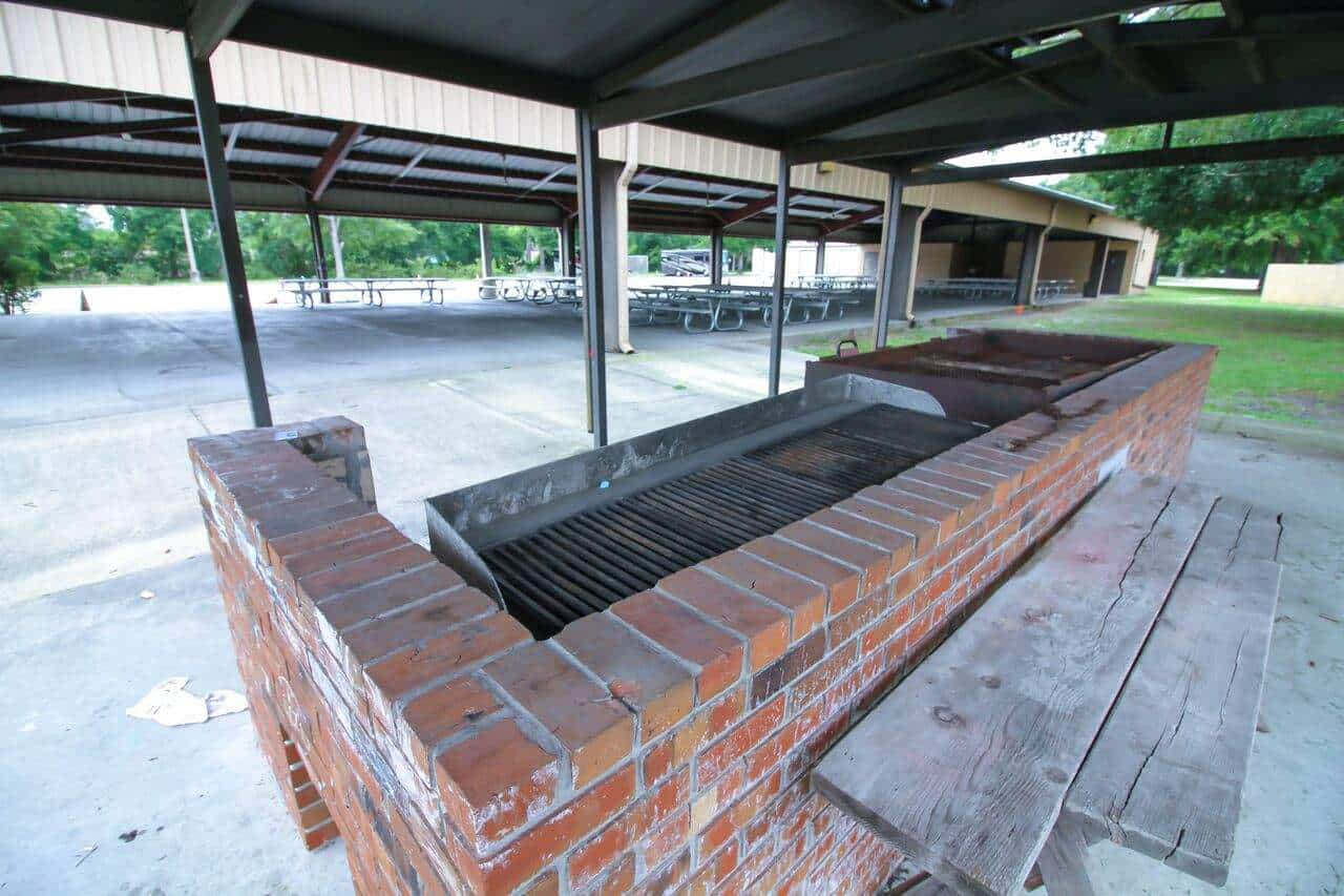 The built-in outdoor grill in the picnic pavilion.